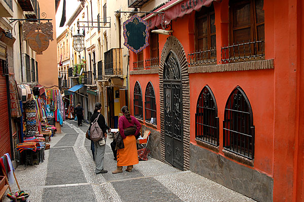 Street in the district of Albaicín in Granada