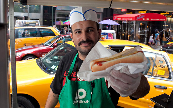 hot dog cart in New York